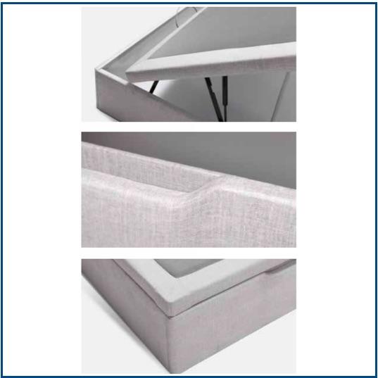 Grey upholstered lift-up ottoman storage base