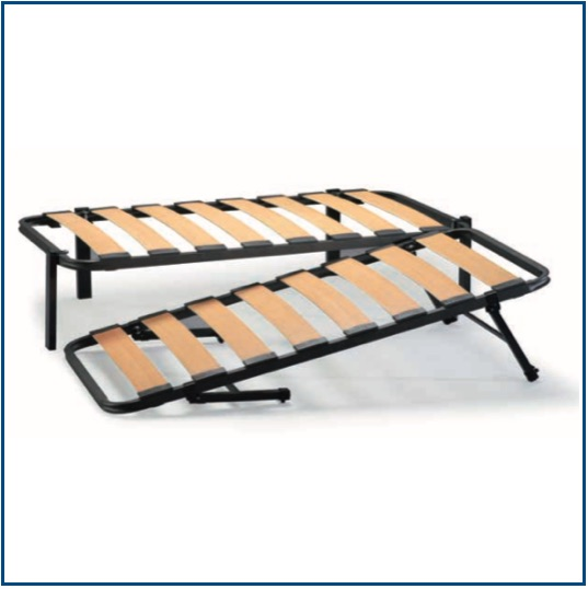 Slatted bed frame with collapsable guest bed