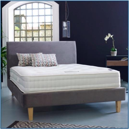 Grey upholstered classic design bedstead