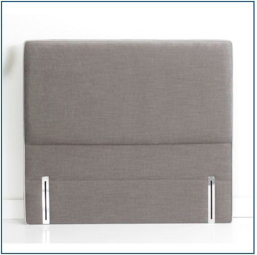 Grey upholstered rectangular shaped floorstanding headboard with contrast piping