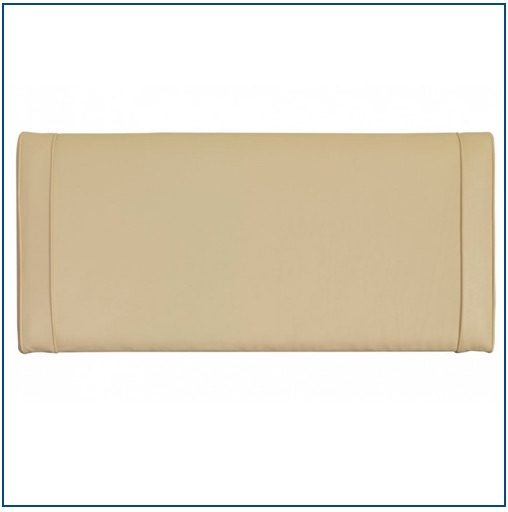 Cream upholstered rectangular shaped headboard with two vertical rows of piping on each side.