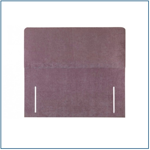 Plain, purple rectangular floor standing upholstered headboard