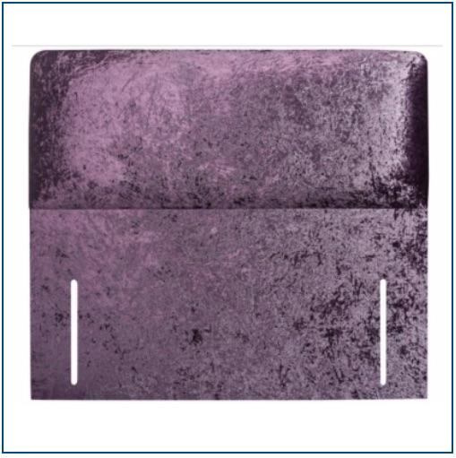 Plain, purple velvet rectangular floor standing upholstered headboard