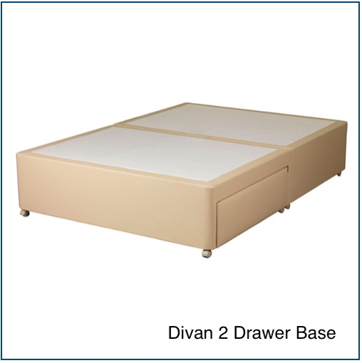Cream divan base with 2 drawers