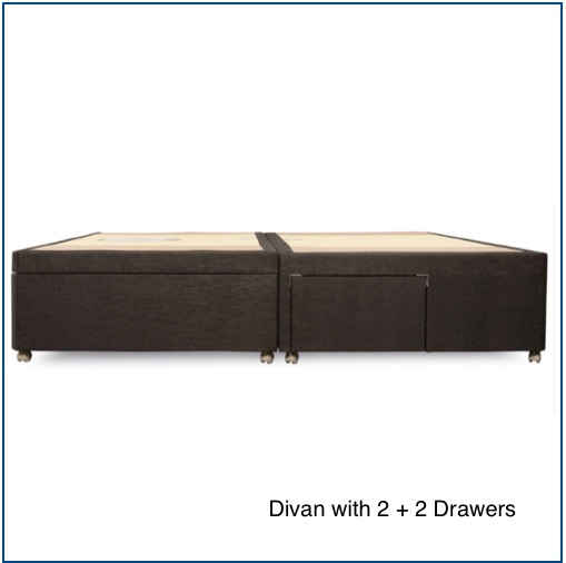 Grey divan base with 2 big drawers and 2 small drawers