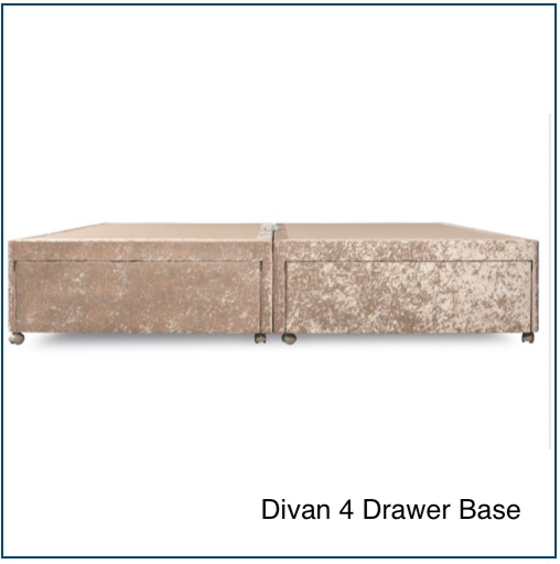Pearl crushed velvet divan 4 drawer base