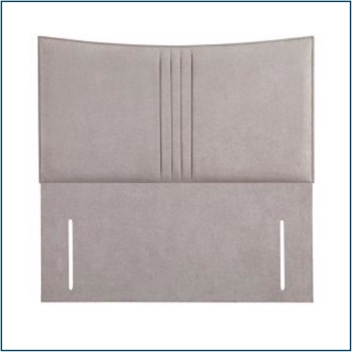 Grey upholstered floor standing headboard with vertical parallel lines down the centre