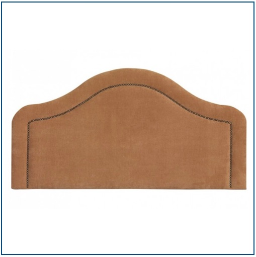 Brown tall, curved upholstered headboard with studded detailing