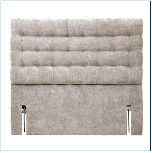 Grey classic design,upholstered floorstanding headboard with square buttons