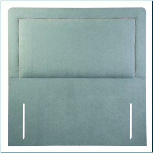 Duck egg blue upholstered floor standing headboard with rounded corners and studded detailing