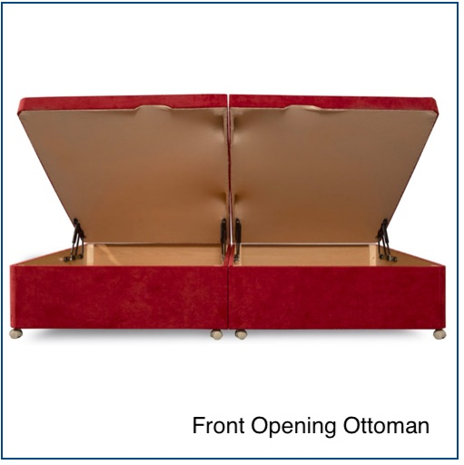 Red upholstered front opening storage base