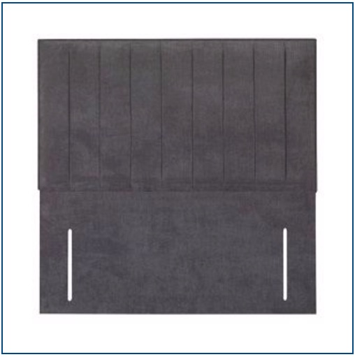 Grey rectangular, upholstered floorstanding headboard with narrow, vertical panelling