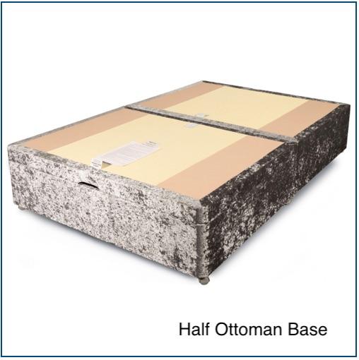Silver velvet half ottoman storage base