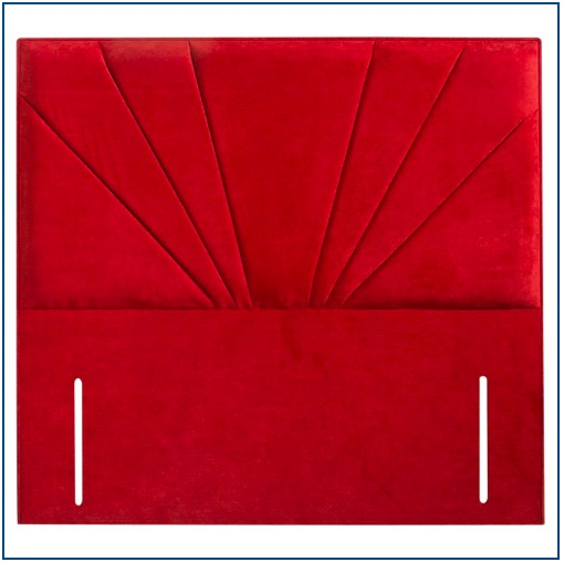 Red rectangular upholstered floorstanding headboard with fan design