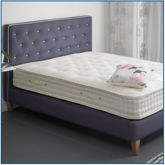 Grey upholstered contemporary design bedstead with contrast piping and button detailing.