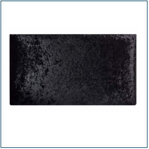 Black velvet, plain rectangular upholstered headboard