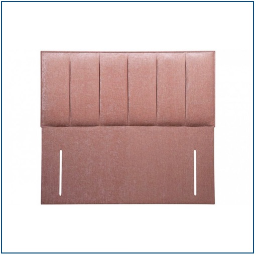 Beige floor standing upholstered headboard with vertical panelling