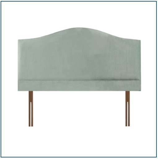 Duck egg blue, tall, curved upholstered headboard with pillow board