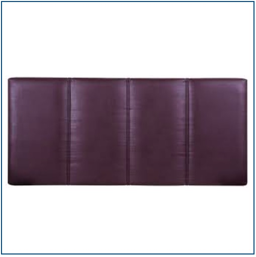 Brown faux leather upholstered panelled, strutted headboard with vertical piped detailing