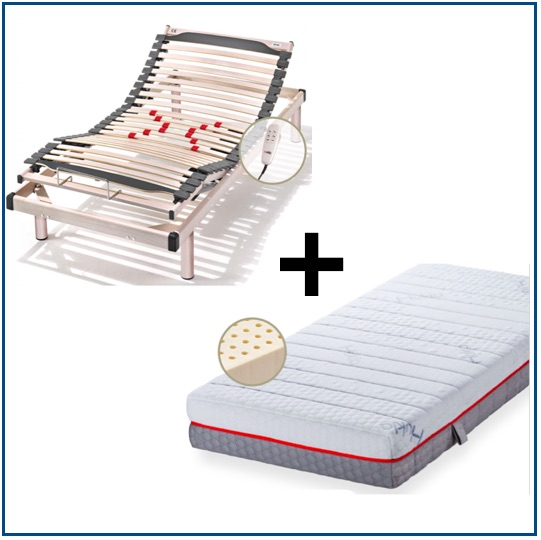 Adjustable bed base with soft latex mattress
