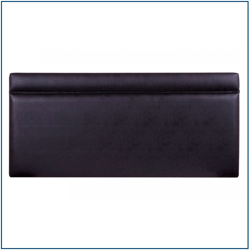 Black faux leather rectangular shaped strutted headboard with piped detail