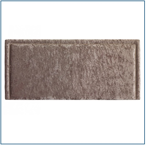Beige velvet rectangular shaped headboard with studs