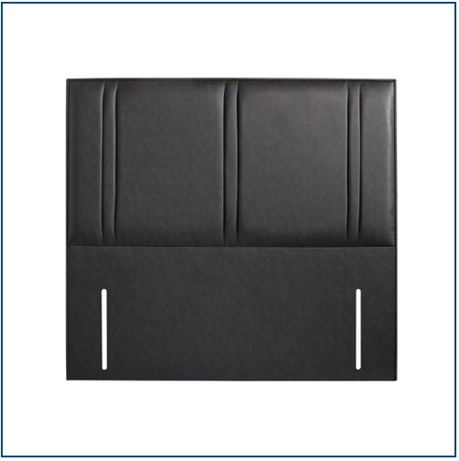 Black faux leather upholstered floor standing headboard with line details