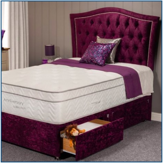 Purple velvet divan base with four drawers