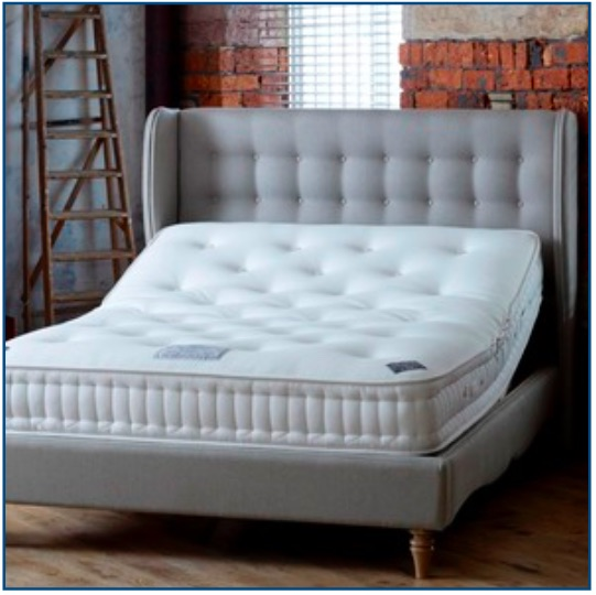 Grey upholstered winged design bedstead with button detailing
