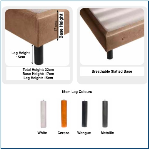 Brown premium upholstered slatted base on legs with button detailing