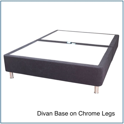 Grey divan base on chrome legs