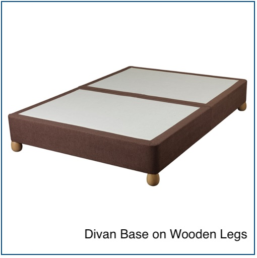 Brown divan base on wooden legs