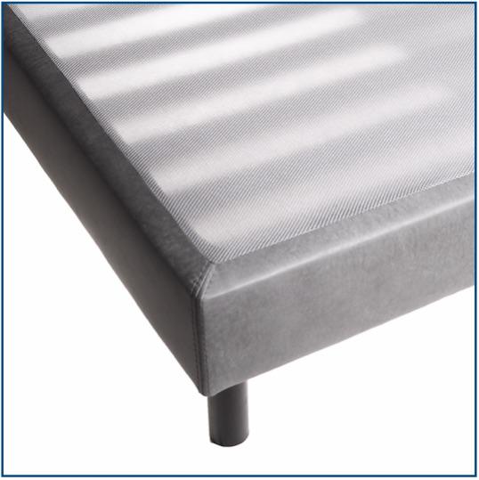 Grey upholstered slatted base on legs