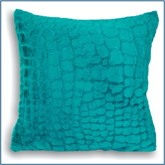 Fluffy and soft teal alligator design cushion cover