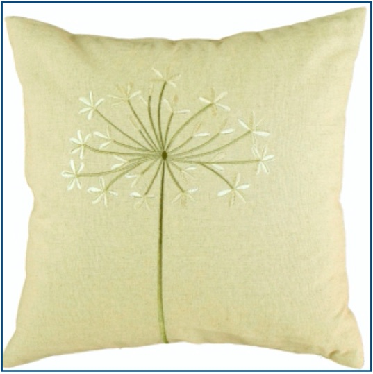 Linen cushion cover with green and beige dandelion design.