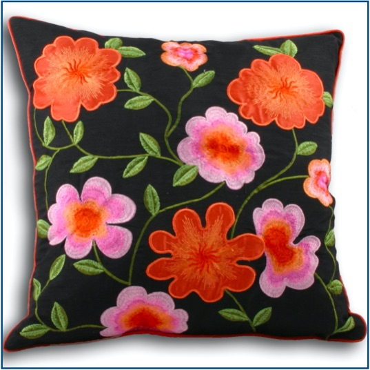 Black cushion cover with bright orange and pink embroidered flowers