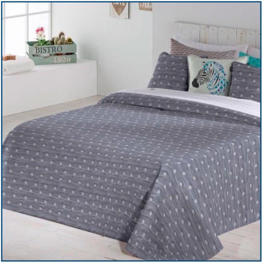 Grey blue, lightweight, polka dotted bedspread