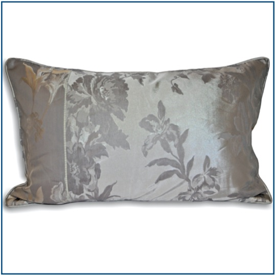Rectangle grey cushion cover with delicate floral design