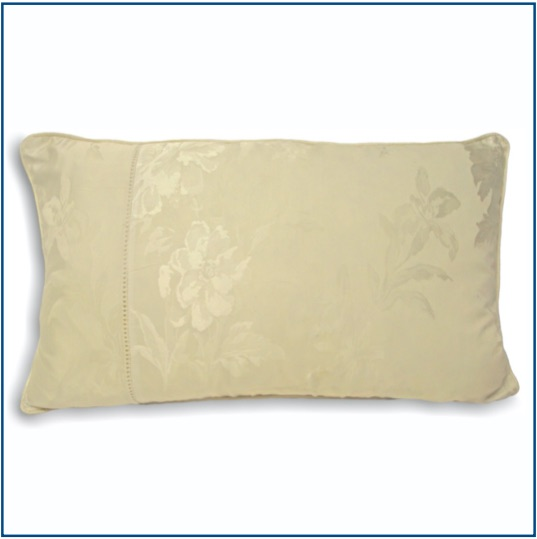 Rectangle ivory cushion cover with delicate floral design