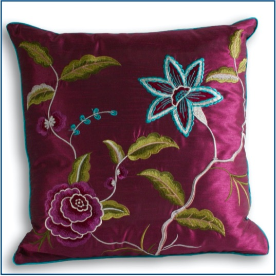Damson cushion cover with green, blue and purple botanical design