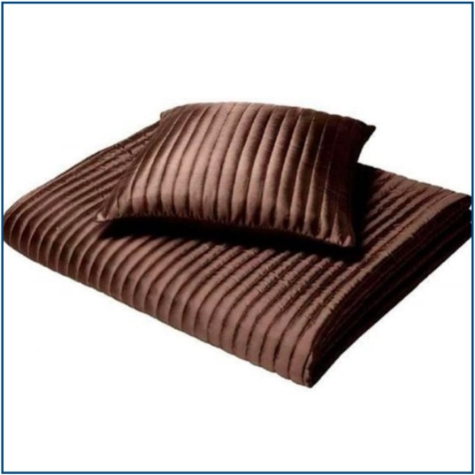 Chocolate brown, slightly quilted, ribbed cushion cover