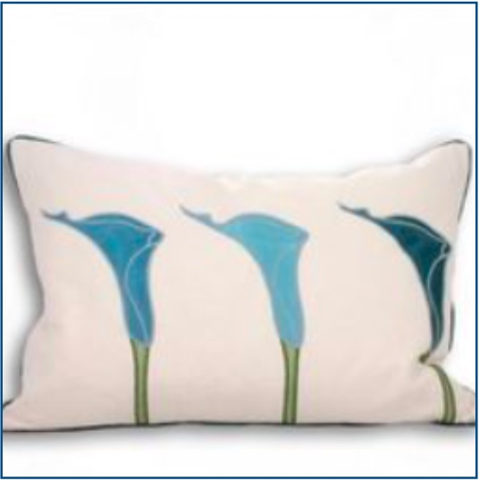 Cream rectangle cushion cover with three blue lilies