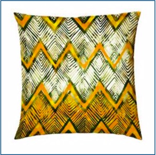 Cotton, printed chevron design cushion cover in mustard and brown