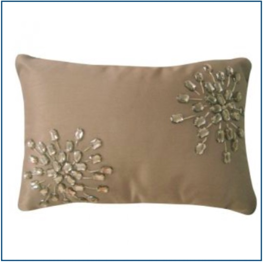 Rectangle, beige / light brown cushion cover with rhinestones
