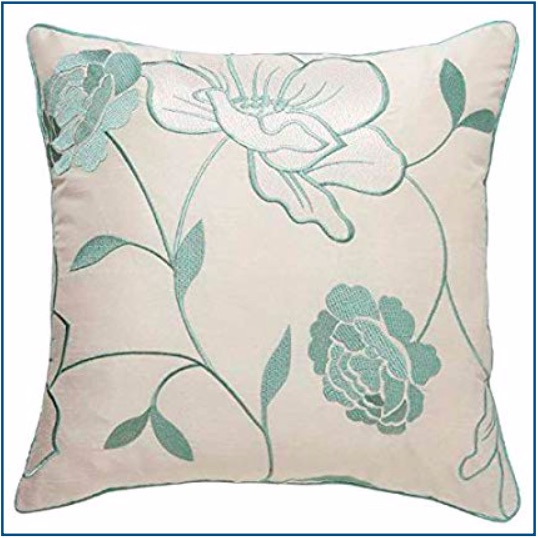Ivory cushion cover with pale duck egg blue floral design