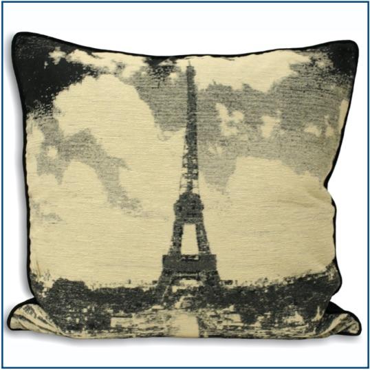 Black and beige Paris theme cushion cover