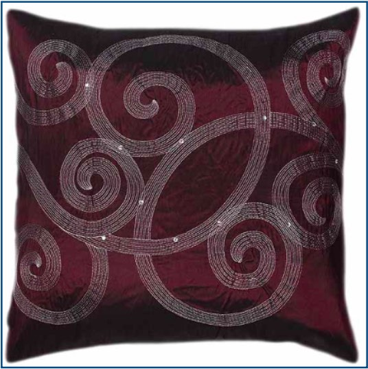 Deep purple cushion cover with swirl design and diamante jewels