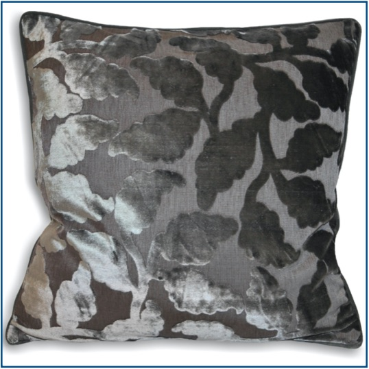 Silver grey velvet cushion cover with leaf pattern
