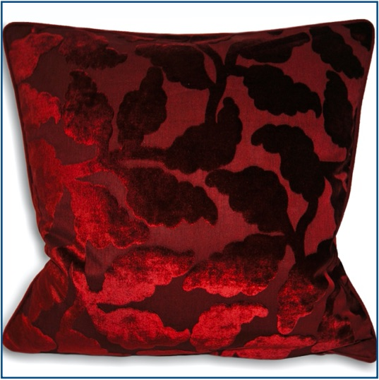 Deep red velvet cushion cover with leaf pattern