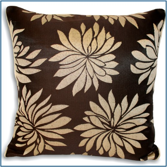 Brown cushion cover with light cream dahlia flowers